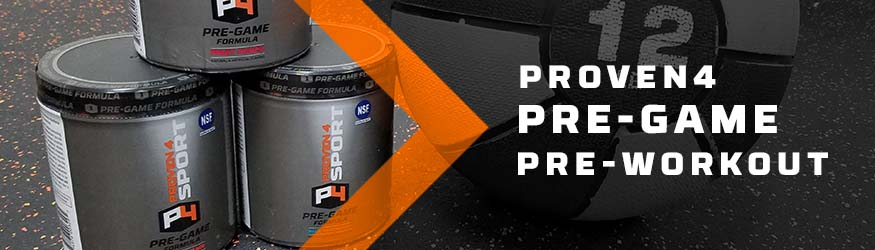 Proven4 products next to a weighted ball.